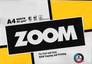Фото товару Папір офісний ZOOM А4 80 г/м2 клас С+ 500 аркушів, біла
