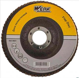 Фото товару Диск пелюстковий плоский 125х22,2 зернистість А60, Т27 WERK (WE107073/5431703)