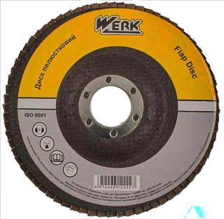 Фото товару Диск пелюстковий плоский 125х22,2 зернистість А120, Т27 WERK (WE107076/5431706)