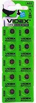 Фото товару Батарейка AG11 Videx, 1.5V, (бл.10/1), Аналог: LR58, LR721, G11, 162, SR721W, GP62A, 362
