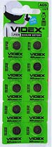 Фото товару Батарейка AG9 Videx, 1.5V, (бл.10/1), Аналог: LR45, LR936, G9, 194, SR936W, GP94A, 394