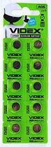 Фото товара Батарейка AG6 Videx, 1.5V, (бл.10/1), Аналог: LR921, G6, 171, SR920W, GP71A, 371