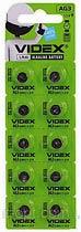 Фото товару Батарейка AG3 Videx, 1.5V, (бл.10/1), Аналог: LR41, 192