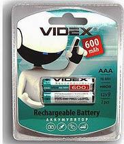 Фото товара Аккумулятор AAA HR03 Ni-MH Videx 600 mAh, 1.2V, (бл.2/1)