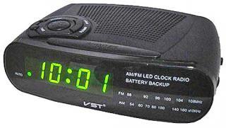 Фото товару Годинник мережевий VST-906-2 зелений, радіо FM, 220V