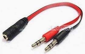 Фото товару Кабель Audio 3.5 мм Female 4pin на 2x3.5 мм Male stereo, 20 см