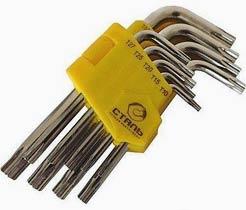 Фото товару Набір ключів Г-подібних TORX Сталь з отвором 9 одиниць (Т10, Т15, Т20, Т25, Т27, Т30, Т40, Т45, Т50) Сталь NEW