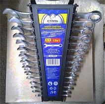 Фото товару Набiр ключiв комбiнованих CRV 15 шт. (6, 7, 8, 9, 10, 11, 12, 13, 14, 15, 16, 17, 18, 19, 22 мм) пластикова упаковка Сталь