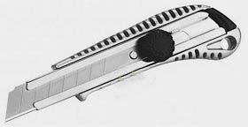 Фото товару Ніж універсальний, металевий корпус, металева направляюча, сегментоване лезо 18мм в блістері, Сталь