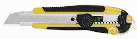 Фото товару Ніж універсальний, прогумований корпус, металева направляюча, сегментоване лезо 18мм, в блістері, Сталь