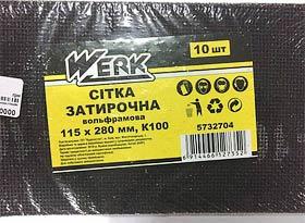 Фото товару Сітка затирочна вольфрамова 115х280 мм, к100, н-р 10 шт WERK