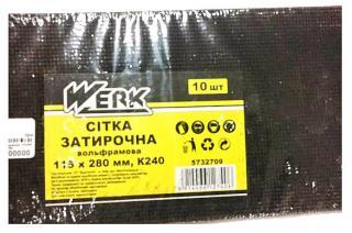 Фото товару Сітка затирочна вольфрамова 115х280 мм, к240, н-р 10 шт WERK