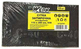 Фото товару Сітка затирочна вольфрамова 115х280 мм, к40, н-р 10 шт WERK