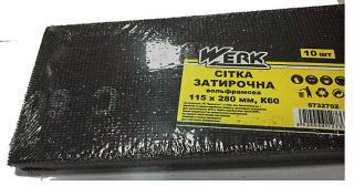 Фото товару Сітка затирочна вольфрамова 115х280 мм, к60, н-р 10 шт WERK