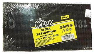 Фото товару Сітка затирочна вольфрамова 115х280 мм, к180, н-р 10 шт WERK