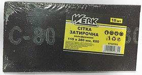 Фото товару Сітка затирочна вольфрамова 115х280 мм, к80, н-р 10 шт WERK