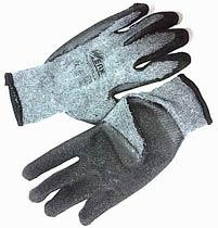 Фото товару Рукавички трикотажні сірі з латексним покриттям (чорний) р. 10 WERK тимчасовий
