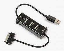 Фото товару HUB USB 2.0 на 3 порти, з зарядкою для iPhone iPod 3, 4, 4S, RTL, чорний