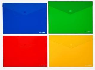 Фото товару Папка-конверт на кнопці, пластикова, А4, 180 мкм, глянець, Economix E31301, mix