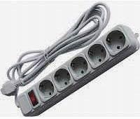 Фото товару Мережевий подовжувач Maxxter SPM5-G-6G 220 Вт з фільтром на 5 розеток, довжина кабелю 1,8 м