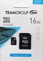 Фото товару Карта пам`яті 16Gb class 10, TEAM GROUP, microSDHC+SD