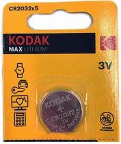 Фото товару Батарейка CR2032 Kodak , 3V, (бл.5/1), Аналог: DL2032, 500LC