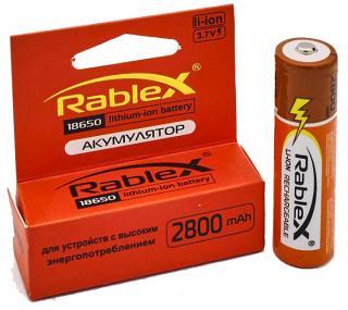 Фото товара Аккумулятор 18650 Rablex 2800 mAh, литиевый, 3.7V, с защитой