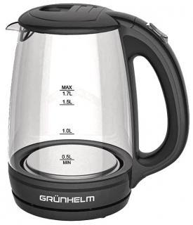 Фото товару Чайник електричний GRUNHELM EKP-1703GB, скляний, чорний, 1,7л, дисковий, 2200 Вт, LED підсвічування