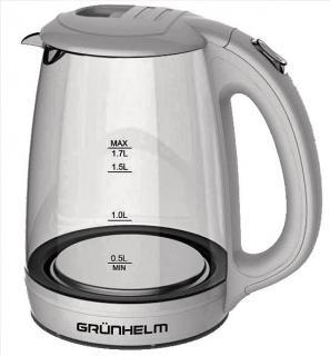 Фото товару Чайник електричний GRUNHELM EKP-1703GW, скляний, білий, 1,7л, дисковий, 2200 Вт, LED підсвічування