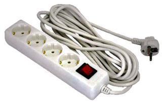 Фото товару Мережевий подовжувач Grunhelm GS4W5M 220 вольт на 4 розетки, довжина кабеля 5м
