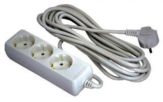 Фото товару Мережевий подовжувач Grunhelm G3W3M 220 вольт на 3 розетки, довжина кабеля 3м