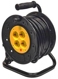 Фото товара Сетевой удлинитель GRUNHELM RL25G40M 220 вольт на катушке на 4 розетки, длина кабеля 40м