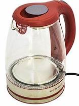 Фото товару Чайник електричний GRUNHELM EKP-2316GS, скляний, червоний, 1,8 л, дисковий, 1800 Вт, LED підсвічування