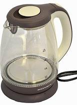 Фото товару Чайник електричний GRUNHELM EKP-2315GE, скляний, білий/коричневий, 1,8 л, дисковий, 1800 Вт, LED підсвічування