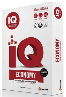 Фото товару Папір офісний IQ Economy А4 80 г/м2 клас С+ 500 аркушів, біла