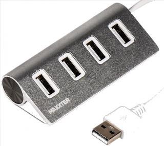 Фото товару HUB USB 2.0 98 HU2A-4P-01 на 4 порти, метал, сріблястий Maxxter